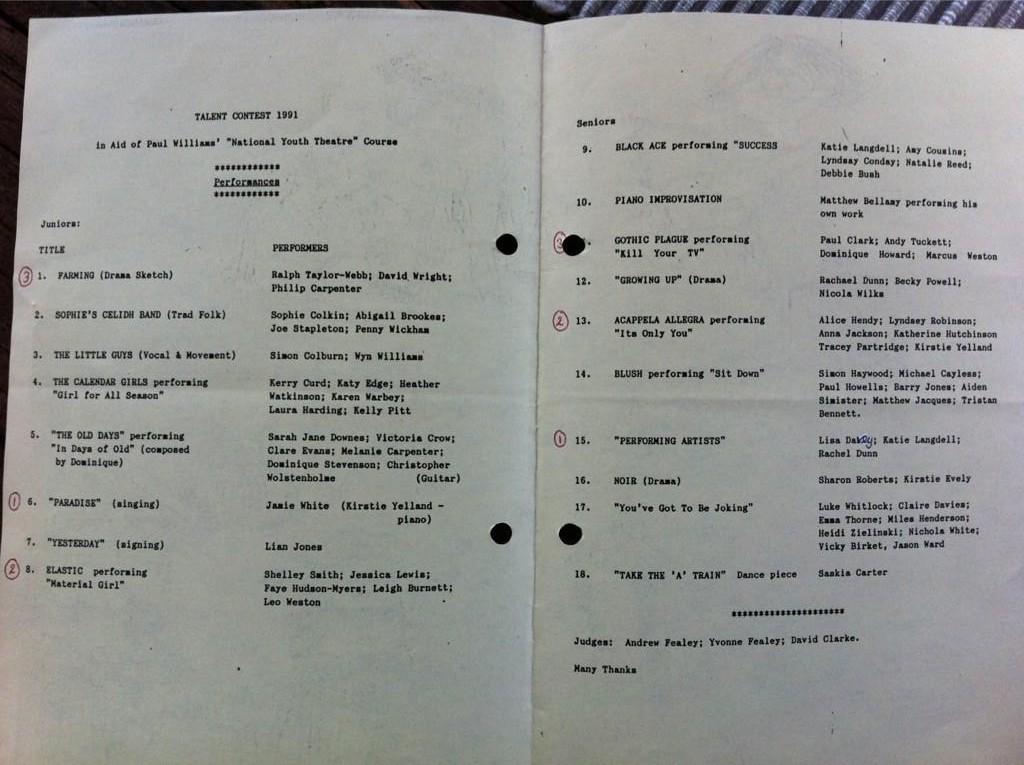 Photo du programme d'un concours musical s'étant déroulé à Londres en 1991